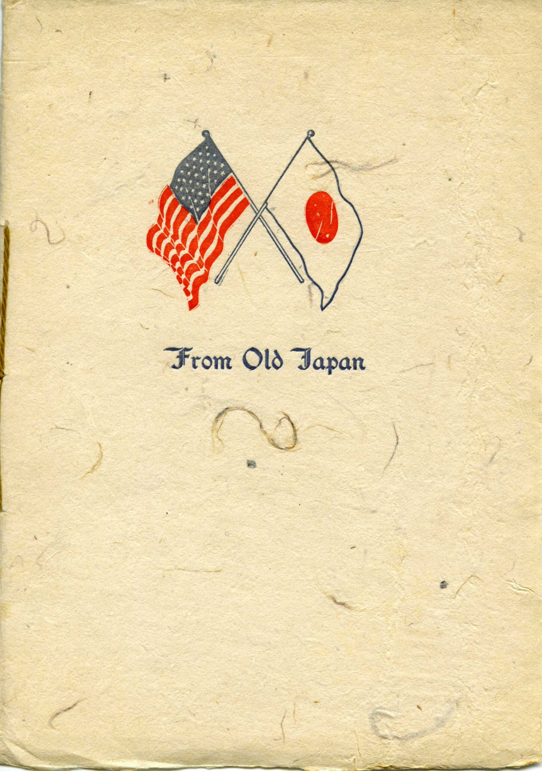 Old Japanese Booklet with American and Japanese flags intertwined